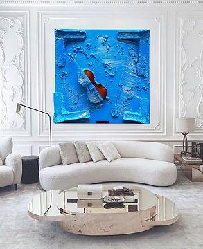 Curvy sofa murs blanc moz art bleu drape