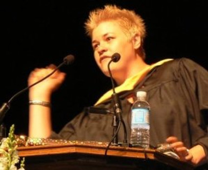 Melissa Bird speaking at the 2011 University of Utah School of Social Work Graduation Ceremonies
