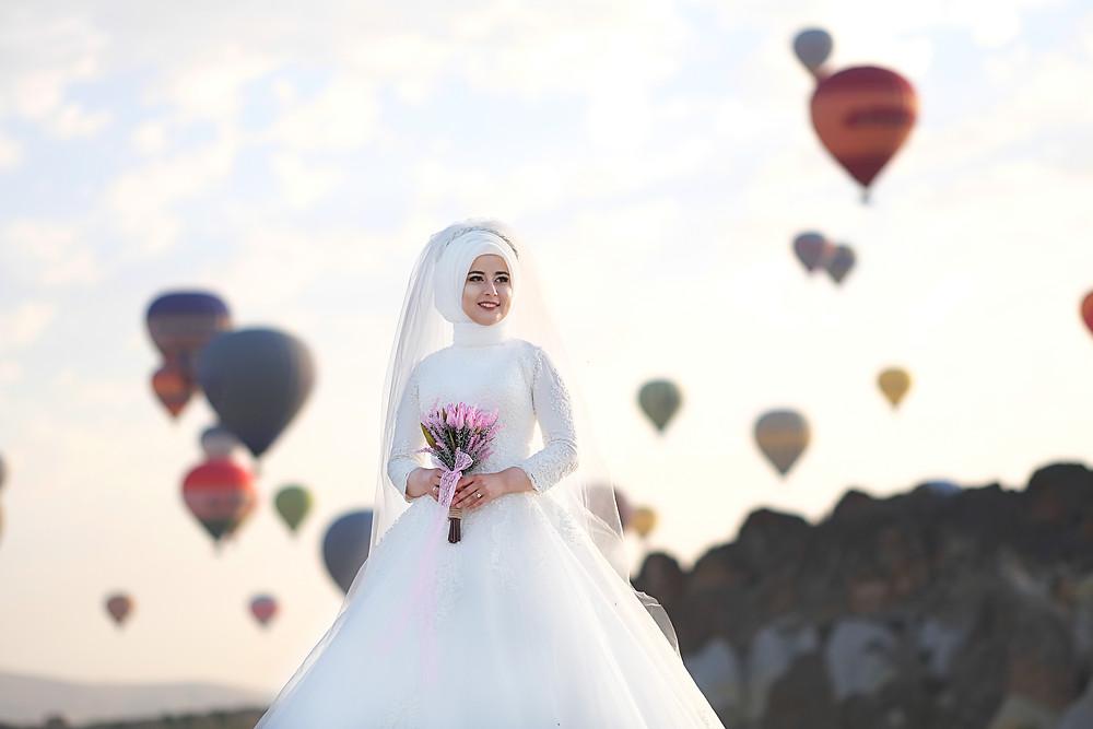 Nevşehir Kapadokya'da Balonlarla Düğün Dış Çekim Örneği