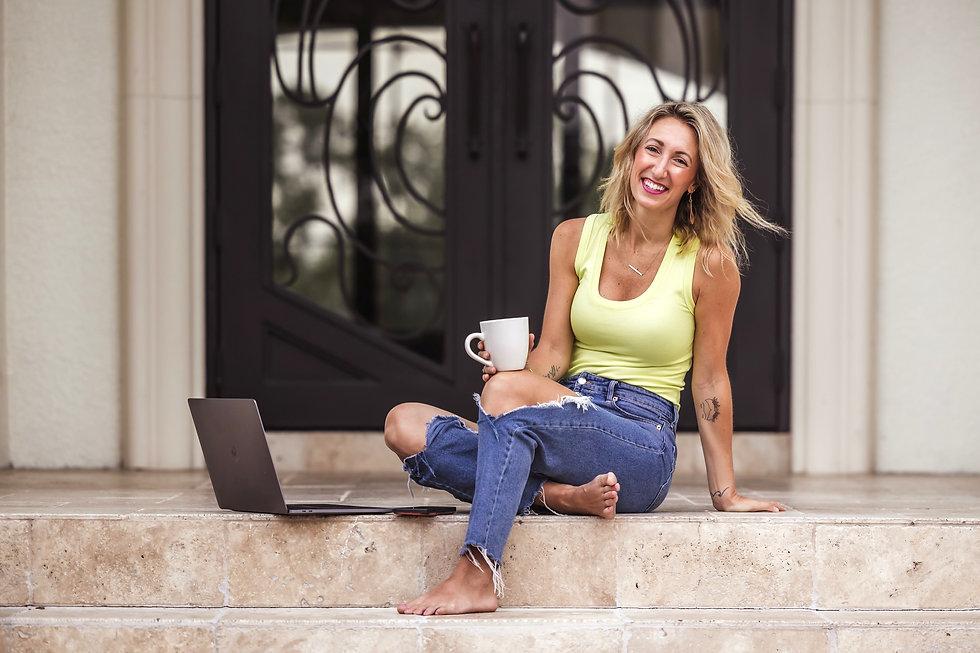 tamra sitting on porch