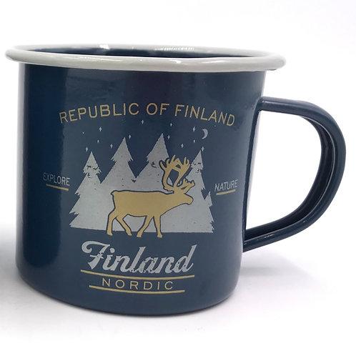 Finland mug Enamel Reindeer Finnish Forest Souvenir Gift | Suomi Muki Emali Poro Suomalainen Metsä Matkamuisto Lahja