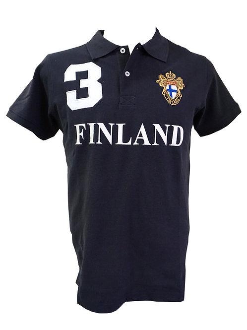 Finland Polo T-shirt Men Finnish Flag | Suomi Poolo T-paita Miehet Suomen Lippu