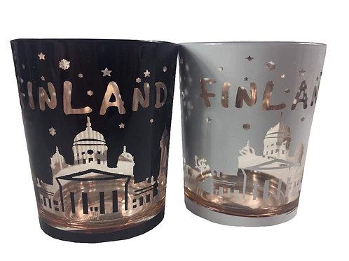 Finland Candle Glass Set Cathedral Snowflake | Suomi Kynttilä Tuikku Setti Tuomiokirkko Lumihiutale
