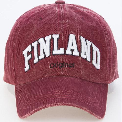 Finland Cap Washed Colouring Red | Suomi Lippis Kulutettu Väritys Punainen