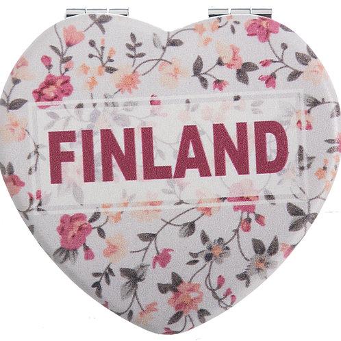 Finland Mirror Heart Floral Souvenir Gift | Suomi Peili Sydän Kukallinen Matkamuisto Lahja