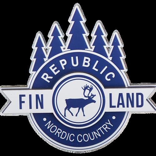 Finland Wooden Magnet Reindeer Forest Souvenir Gift | Suomi Puinen Magneetti Poro Metsä Matkamuisto Lahja