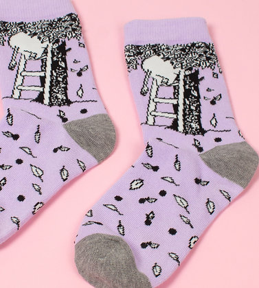 Moominpappa Apple Tree Ladies Socks Purple/Grey