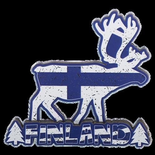 Finland Wooden Magnet Reindeer Finnish Flag Souvenir Gift | Suomi Puinen Magneetti Poro Suomen Lippu Matkamuisto Lahja