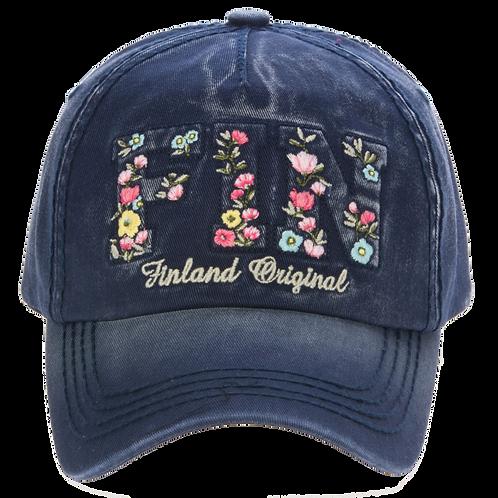 Finland Cap Washed Colouring Floral | Suomi Lippis Kulutettu Väritys Kukallinen