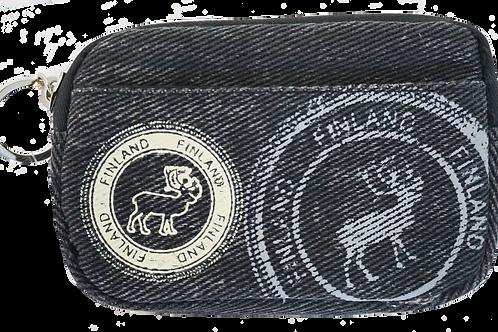 Finland Coin Wallet Reindeer Print Denim | Suomi Kolikko Lompakko Poro Kuvio Denim