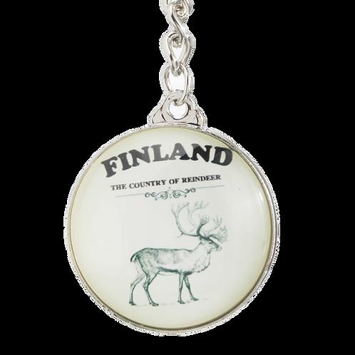 Finland Key Ring Glass Reindeer Souvenir   Suomi Avaimenperä Lasi Poro Matkamuisto