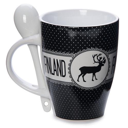 Finland Mug Spoon Vintage Style Reindeer Souvenir Gift | Suomi Muki Lusikka Vanhanaikainen Tyyli Poro Matkamuisto Lahja