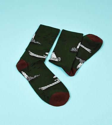 Moominpappa At Sea Men Socks Green / Brown