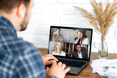 Online business meeting in video confere
