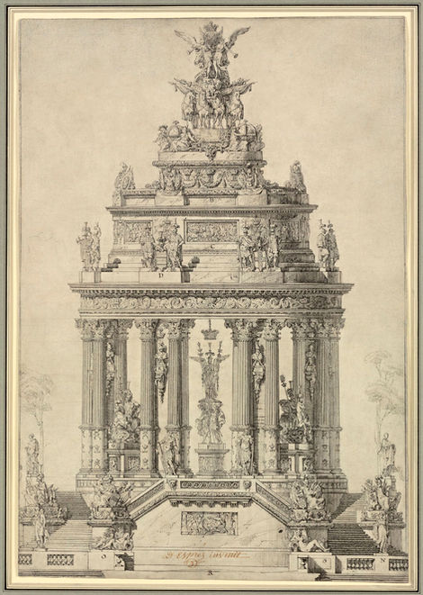 LOUIS-JEAN DESPREZ (1743-1804) ⎜Elevation of a commemorative Monument to the Bourbon Monarchy, 1772 ⎜ Private collection