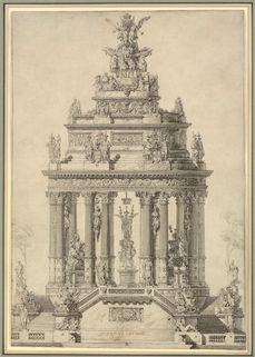LOUIS-JEAN DESPREZ (1743-1804) ⎜Elevation of a commemorative Monument to the Bourbon Monarchy, 1772 ⎜ Private collection