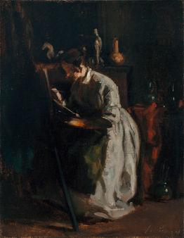 François Bonvin (1817–1887) | Sophie Unternährer painting at the Easel | Private Collection, London