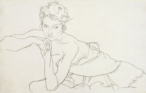 Schiele%2C%20Young%20woman%20leaning%20f