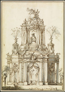 CARLO MARCHIONNI (1702–1786) ⎜Design for an Ephemeral Architecture with Fireworks, Rome ⎜ Private collection