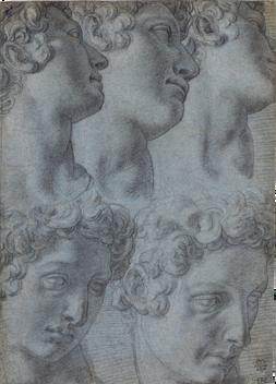 FRANCESCO MORANDINI, called Il Poppi (1544–1597)   Five Studies of the Head of Giuliano de' Medici, after Michelangelo   Private collection, USA