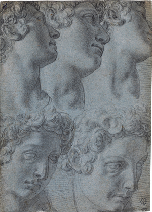 FRANCESCO MORANDINI, called Il Poppi (1544–1597) | Five Studies of the Head of Giuliano de' Medici, after Michelangelo | Private collection, USA