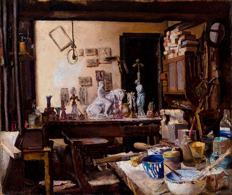 WALTER J. SHERWOOD (1865-1951) ⎜The Studio of Henri Doré in the Cheapside Building, Providence, Rhode Island ⎜ Private collection, London