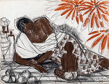 A Malgache reclining with a Child holding a Fruit