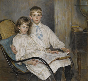LOUISE-CATHERINE BRESLAU (1856–1927) ⎜Portrait of Mimi and Max Favarger ⎜Private collection, Belgium