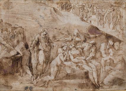 POLIDORO CALDARA, called POLIDORO da CARAVAGGIO (1499–1543)   The Lamentation of Christ (recto and verso)   Private collection, New York