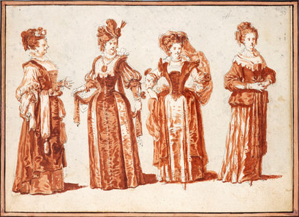 CLAUDE GILLOT (1673–1722)   Four Actresses in Theatrical Costume   Private collection, Paris
