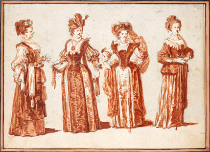CLAUDE GILLOT (1673–1722) | Four Actresses in Theatrical Costume | Private collection, Paris