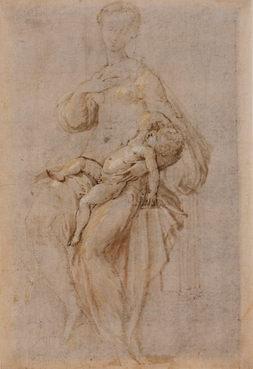 GIROLAMO FRANCESCO MARIA MAZZOLA, called IL PARMIGIANINO (1503–1540) ⎜ Studies for the Madonna dal Collo Lungo ⎜Private collection, Switzerland