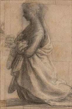 BACCIO DELLA PORTA, called Fra Bartolommeo (1473–1517)⎜Kneeling St Mary Magdalen in profile to the left⎜Private collection, New York
