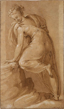 FRANCESCO DE' ROSSI, called Il Salviati (1510-1563) ⎜A Muse holding onto a Rock, her Head turned around: Study for the Palazzo Grimani, Venice, 1540 ⎜ Private collection