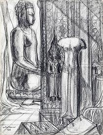 Buddha, a Baphuon Style female Torso and an Apsara, Angkor