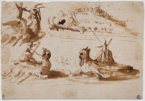 PIETRO BUONACCORSI, called PERINO DEL VAGA (1501–1547) | Studies of Men riding on Sea Creatures and a fantastical Sea Monster | Private collection