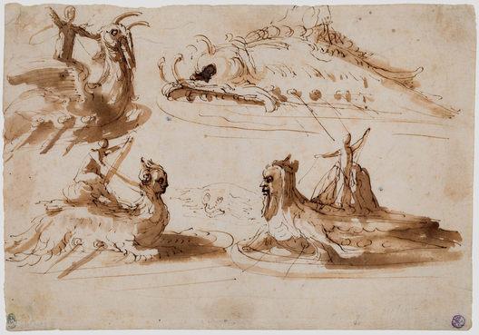 PIETRO BUONACCORSI, called PERINO DEL VAGA (1501–1547)   Studies of Men riding on Sea Creatures and a fantastical Sea Monster   Private collection
