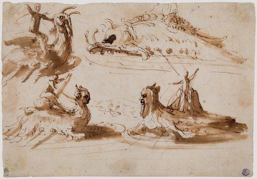PIETRO BUONACCORSI, called PERINO DEL VAGA (1501–1547) | Studies of Men riding on Sea Creatures and a fantastical Sea Monster | Private collection
