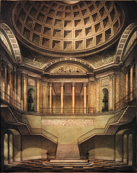 BENJAMIN DEAN WYATT (1775-1852) | Perspective of the Central Hall and Staircase of Waterloo Palace, London ⎜ Private collection