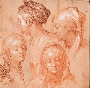 ABRAHAM BLOEMAERT (1566–1651) ⎜Four Studies of female Heads⎜Private collection, New York