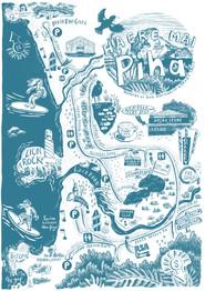 Tourist map of Piha, New Zealand