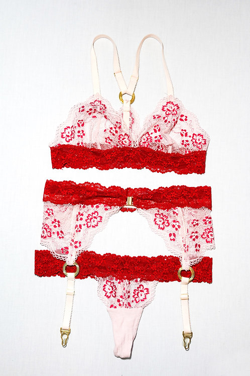 Cuffay Suspender; Red and Pink