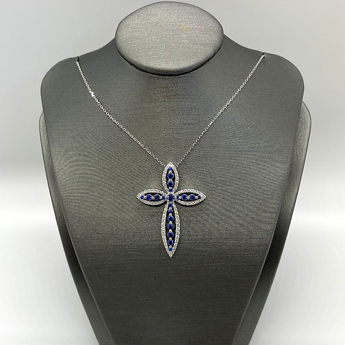 Ladies Sapphire and Diamond Cross