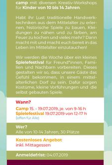 Kreativ - und Sommercamp und zum Abschluss ein Spielefestival | 15.-19.07.2019