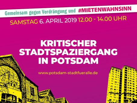 """Aktionstag: """"Gemeinsam gegen Verdrängung &  #Mietenwahnsinn"""", Kritischer Stadtspaziergang Potsdam"""