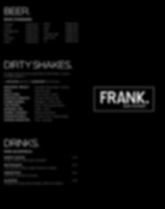 Frank Bar. + Eatery Drinks Menu