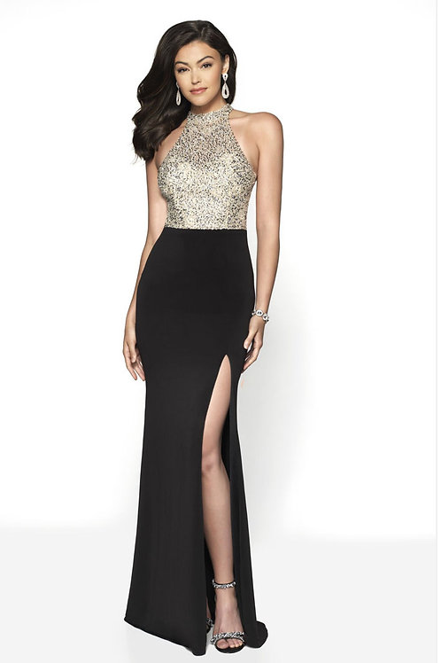 Black Beaded Bodice Gown