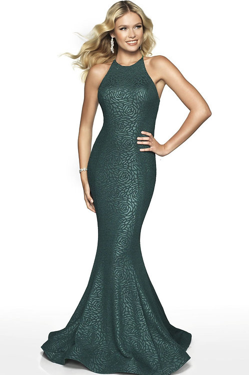 Green Subtle Roses Gown