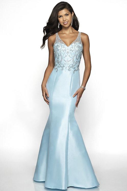 Blue Beaded Mermaid Gown