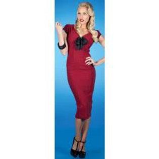 Burgundy Polka-dot  Sweetheart Dress